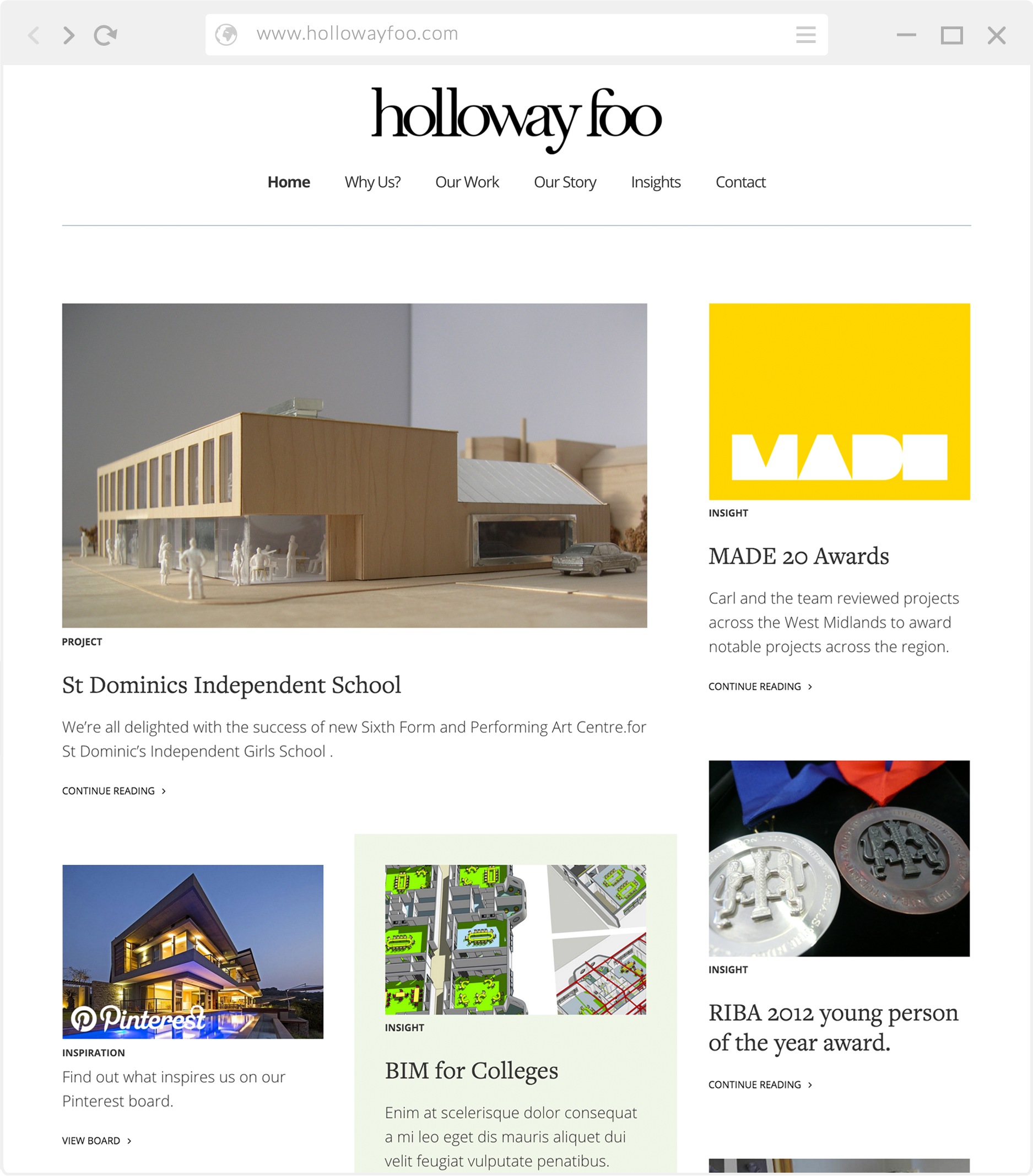 HollowayFoo website home page
