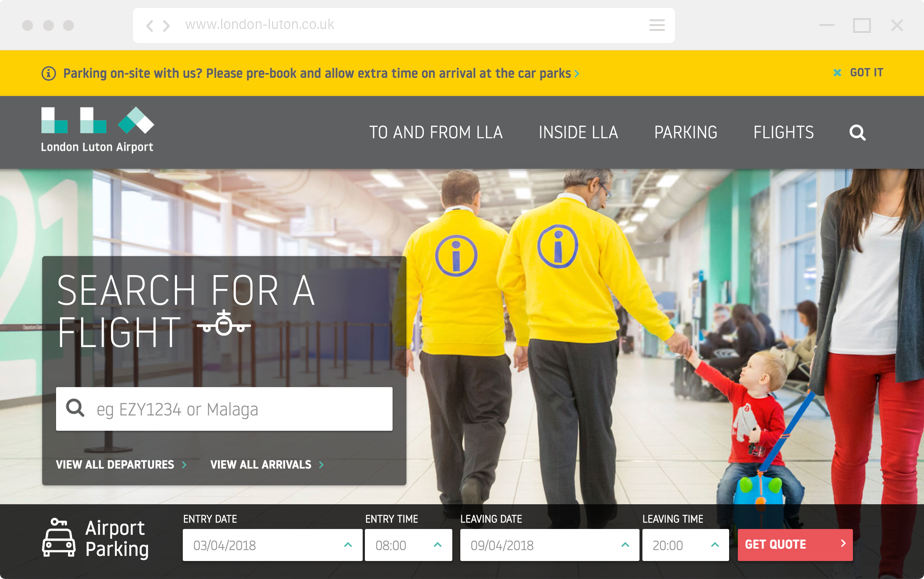 Website design for London Luton Airport home page
