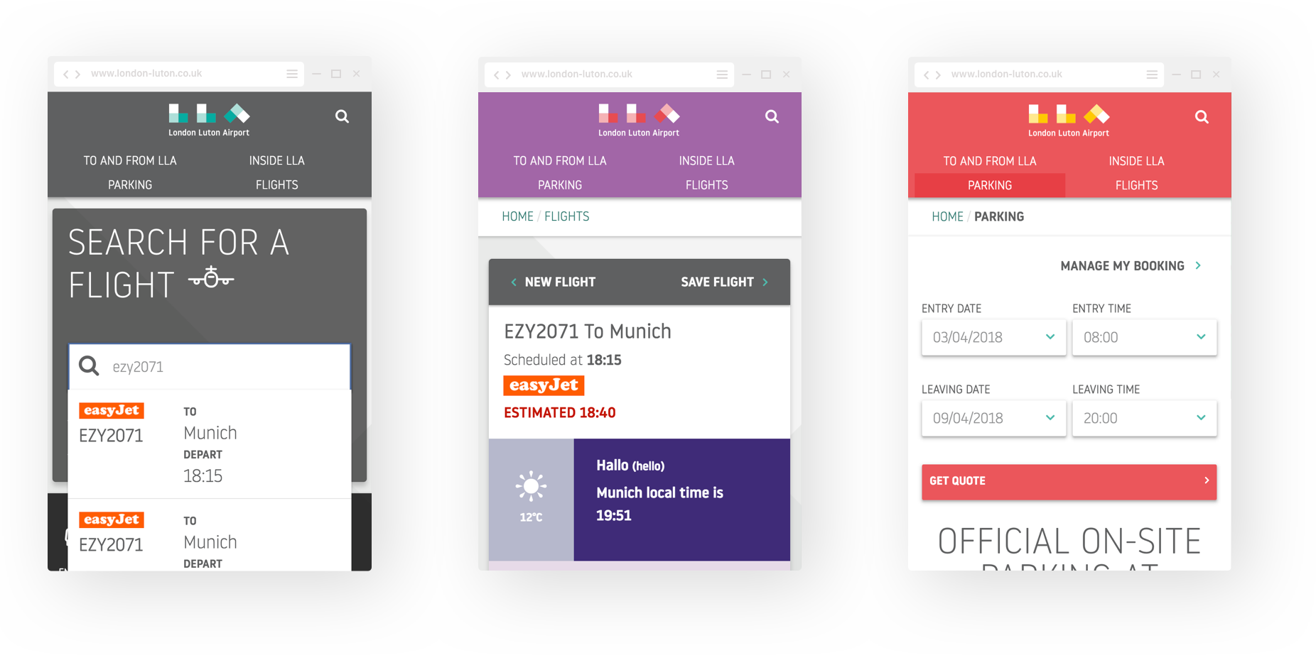 Mobile design for London Luton Airport