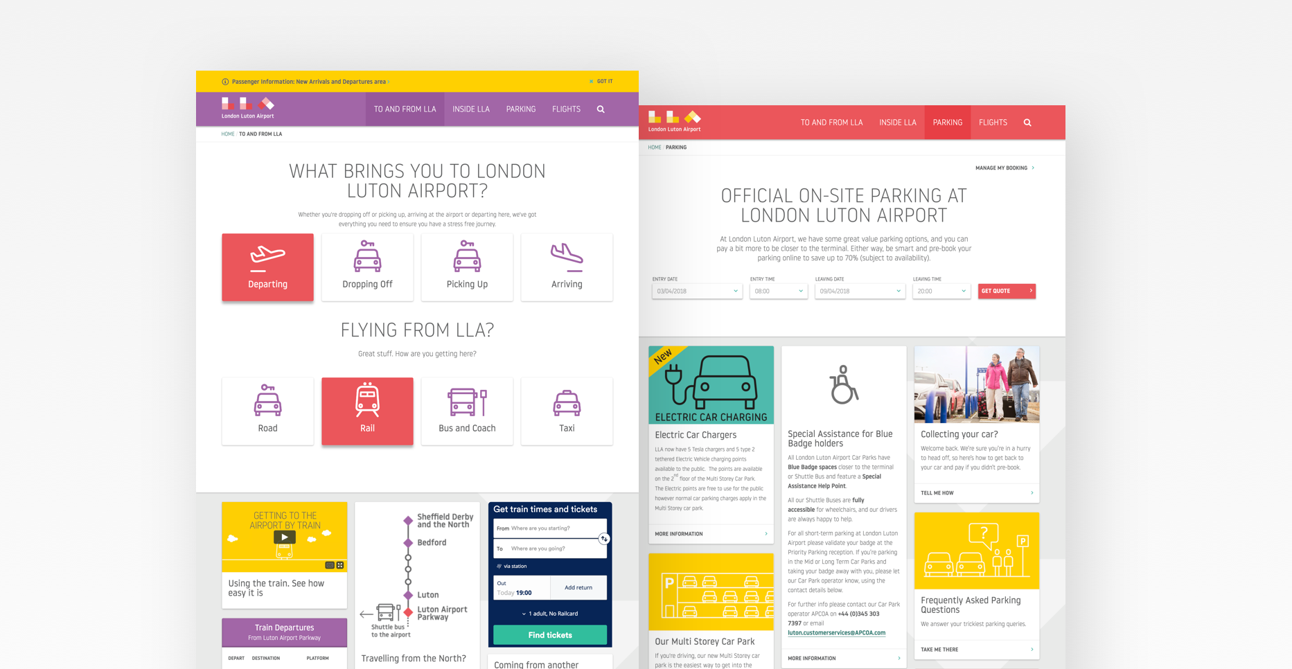 Website design for London Luton Airport