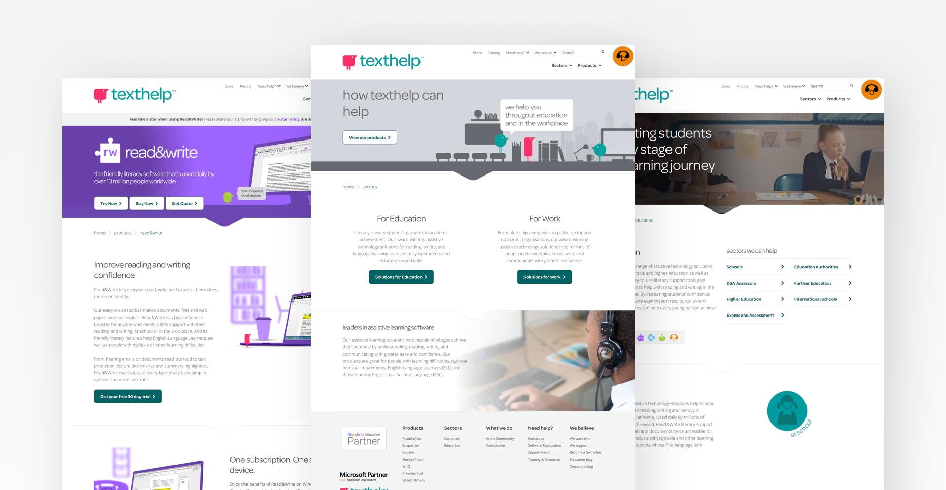 Texthelp website screens